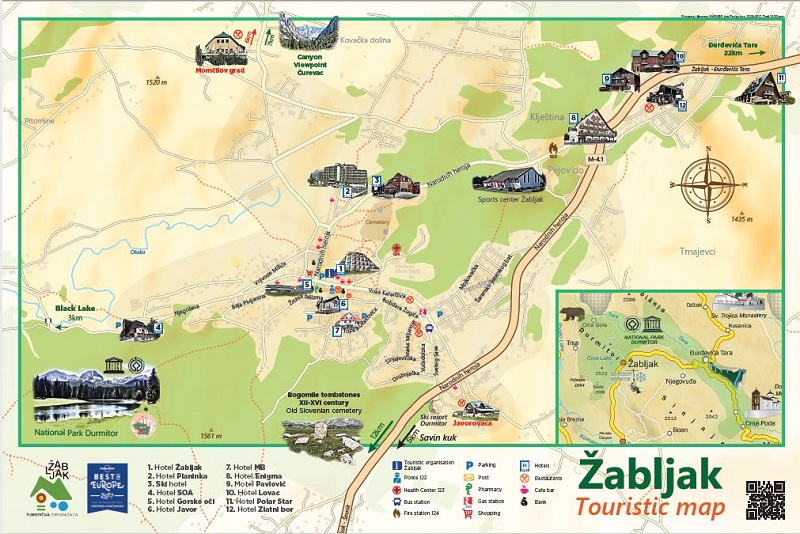zabljak map with trails and roads